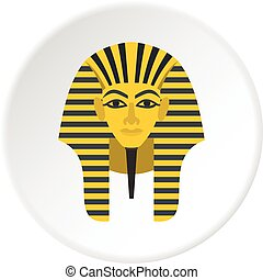 Egyptian golden pharaohs mask icon circle - Egyptian golden...