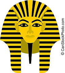 Egyptian golden pharaohs mask icon isolated - Egyptian...