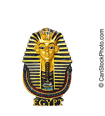 Egyptian golden pharaohs mask isolated on white - travel to Egypt concept