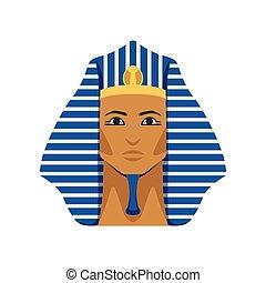 Egyptian golden Tutankhamen pharaoh mask, symbol of ancient Egypt vector Illustration
