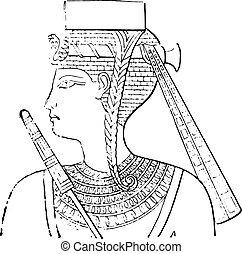 Egyptian headdress, vintage engraving.
