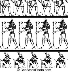 Egyptian hieroglyphics pattern