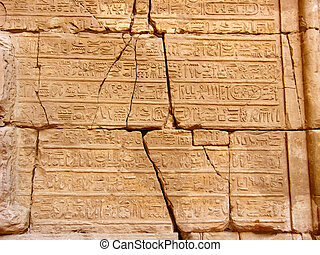 Egyptian hieroglyphics - Hieroglyphics on antique wall in...