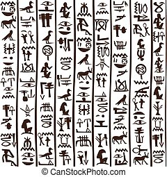 Egyptian hieroglyphics seamless background
