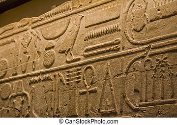 Egyptian Hieroglyphics - Close up of ancient Egyptian...
