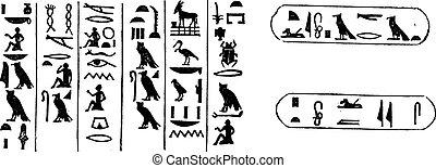 Egyptian Hieroglyphics, vintage engraved illustration