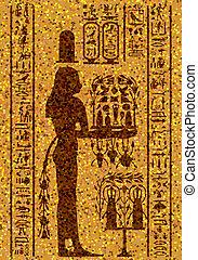 egyptian hieroglyphs and fresco