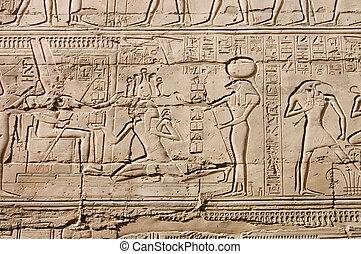 Egyptian hieroglyphs. Pattern from Karnak Temple, location: ...