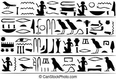 Egyptian hieroglyphs seamless pattern