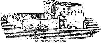 Egyptian House, vintage engraving