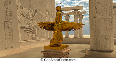 Egyptian Isis Statue - An Isis statue in the Temple of Isis...