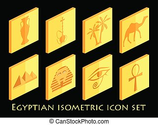 Egyptian isometric icon set. Symbols of Egypt. Tourism and adventure. Vector illustration