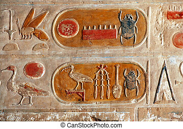 Egyptian Kartush hieroglyphics on limestone wall in Hatshepsut temple in Egypt