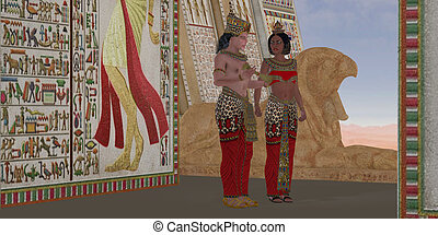 Egyptian King and Queen - An Egyptian king talks with the...