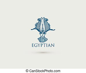 Egyptian logo with symbol Pharaon Osiris of ancient civilization vintage, engraved hand drawn in sketch or wood cut style, old looking retro