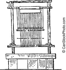 Egyptian loom, vintage engraving.