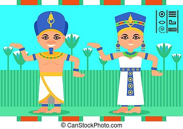 Egyptian man and woman in dancing action. Pharaoh and queen of Egypt in traditional clothes. Lotus flowers on background. Flat vector