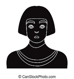 Egyptian man icon in black style isolated on white background. Ancient Egypt symbol stock vector illustration.