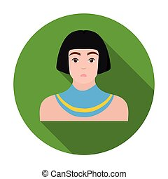 Egyptian man icon in flat style isolated on white background. Ancient Egypt symbol stock vector illustration.