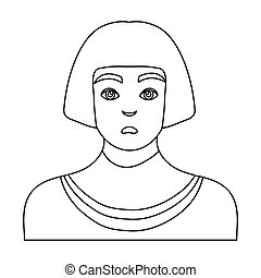 Egyptian man icon in outline style isolated on white background. Ancient Egypt symbol stock vector illustration.