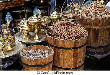 Egyptian market stall - Detail of things for sale in an ...