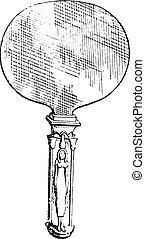 Egyptian Mirror, vintage engraving. - Egyptian Mirror,...