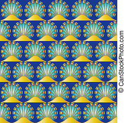 An Egyptian style motif repeated into a seamless pattern.