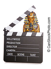 Egyptian mummy with movie clapper