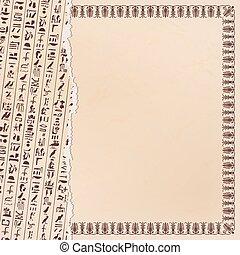 Egyptian ornaments and hieroglyphs.