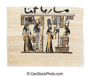 Egyptian papyrus showing Nefertari and Isis