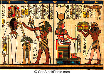 Egyptian papyrus with antique hieroglyphs