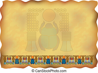 Egyptian papyrus with ornaments and scarab. Vector illustration.