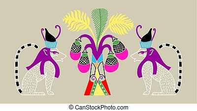 Egyptian pattern with two cat gods and a palm tree with coconuts