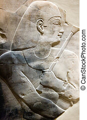 Egyptian Pharaoh Carving on Limestone with Specter
