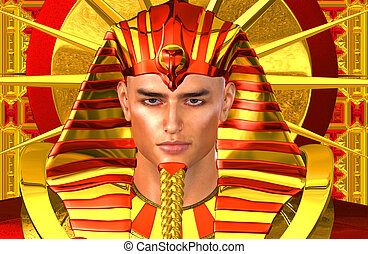 Egyptian Pharaoh Ramses. A modern digital art version of an ancient Egyptian king. A brilliant gold background exudes the wealth and power of Egypt. Use for King Tut, Ramses II or any Egyptian pharaoh scene.
