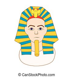 Egyptian pharaoh icon, cartoon style