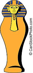 Egyptian pharaoh sarcophagus icon cartoon - Egyptian pharaoh...
