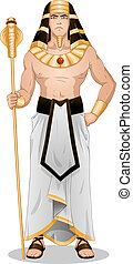 Egyptian Pharaoh Standing For Passover - Vector illustration...