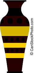 Egyptian pottery vessel icon isolated