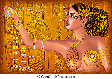 Egyptian princess adorned in gold jewelry and gems. Digital...