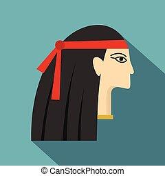 Egyptian princess icon, flat style
