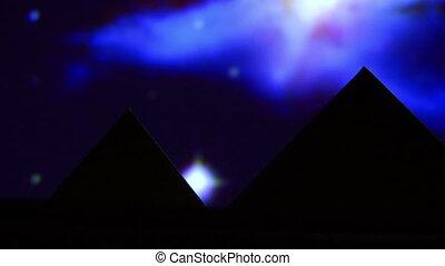 Egyptian pyramid, blue night
