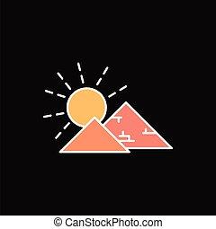 Egyptian pyramid icon, cartoon style