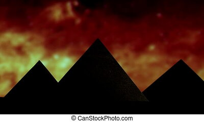 Egyptian pyramid, red sky in background, stars