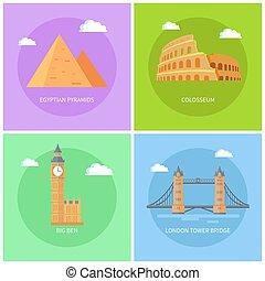 Egyptian Pyramids Big Ben Vector Illustration - Egyptian ...