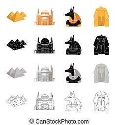 Egyptian pyramids, Cairo Palace, statue of Anubis, sculpture of the Sphinx. Ancient Egypt set collection icons in cartoon black monochrome outline style vector symbol stock illustration web.