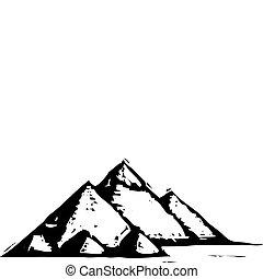 Egyptian Pyramids - Black and White woodcut style...