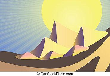 Egyptian pyramids - Vector illustration of Egyptian pyramids...