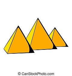 Egyptian pyramids icon cartoon