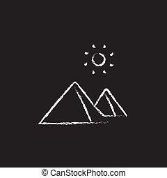 Egyptian pyramids icon drawn in chalk. - Egyptian pyramids...
